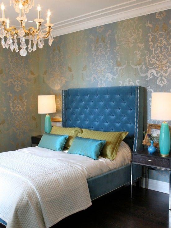 Teal Wingback Chair Kohls Beach Chairs Damask Wallpaper, Tufted Headboard | Bedrooms Bedroom, Velvet Headboard, Beautiful ...
