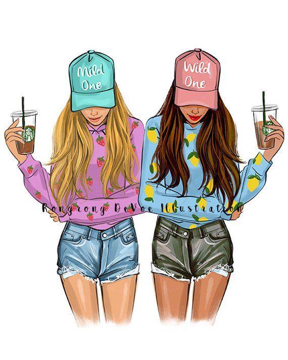 Best friends art Fashion Illustration Print   Fashion Sketch   Etsy