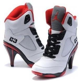 54c5c4349a28be Air Jordan 5 High Heels Black White Red