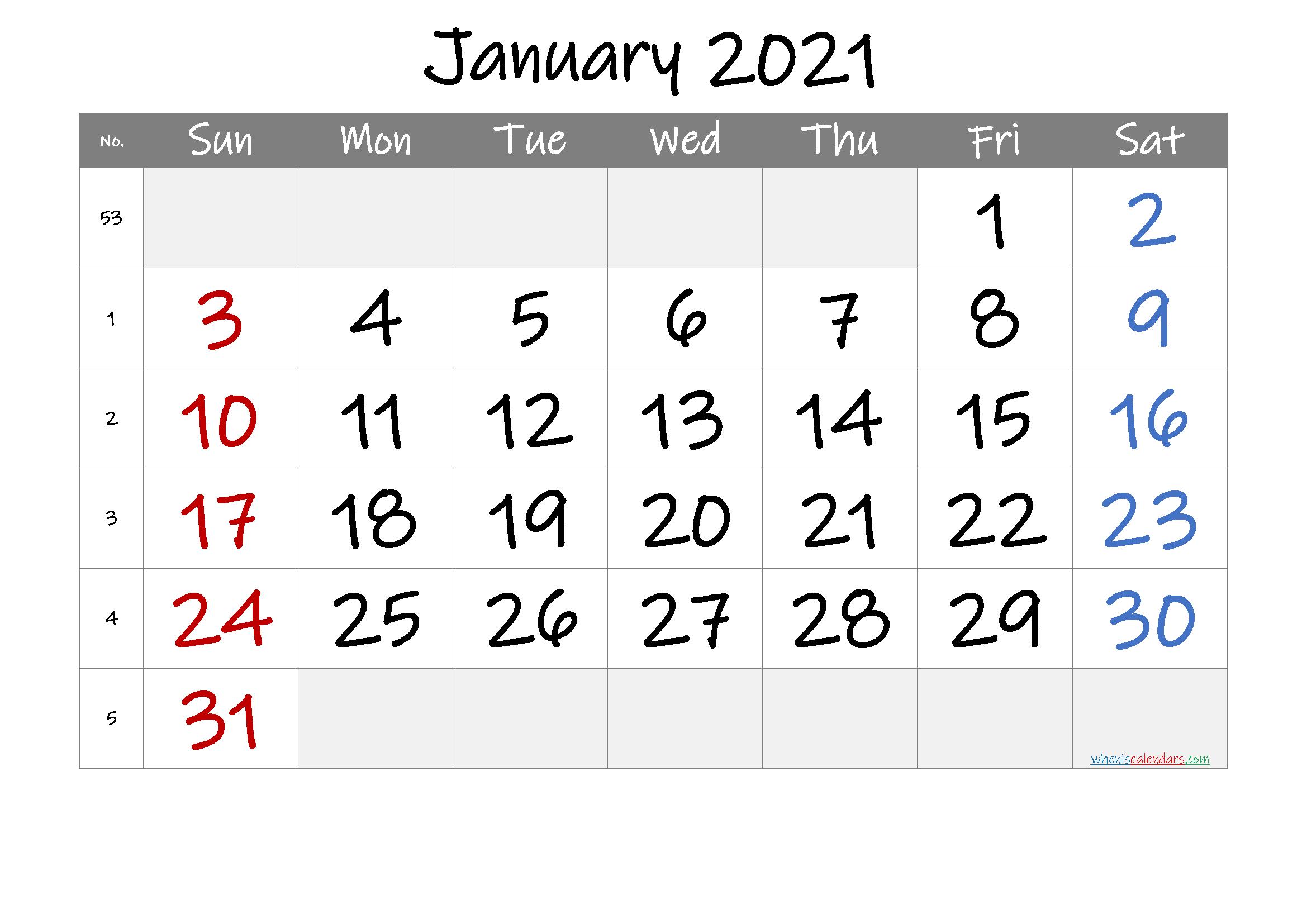 Free Printable January 2021 Calendar (Premium) in 2020 ...