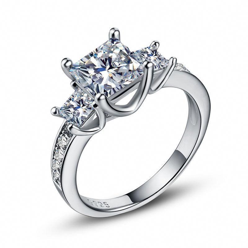 Princesscutringwithband White Sapphire Ring Wedding Fashion Rings Silver Wedding Jewelry