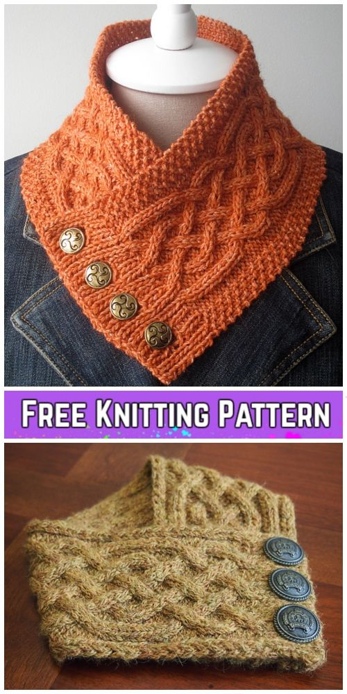 Knit Celtic Cable Neckwarmer Scarf Free Knitting Pattern #knittingpatternsfree