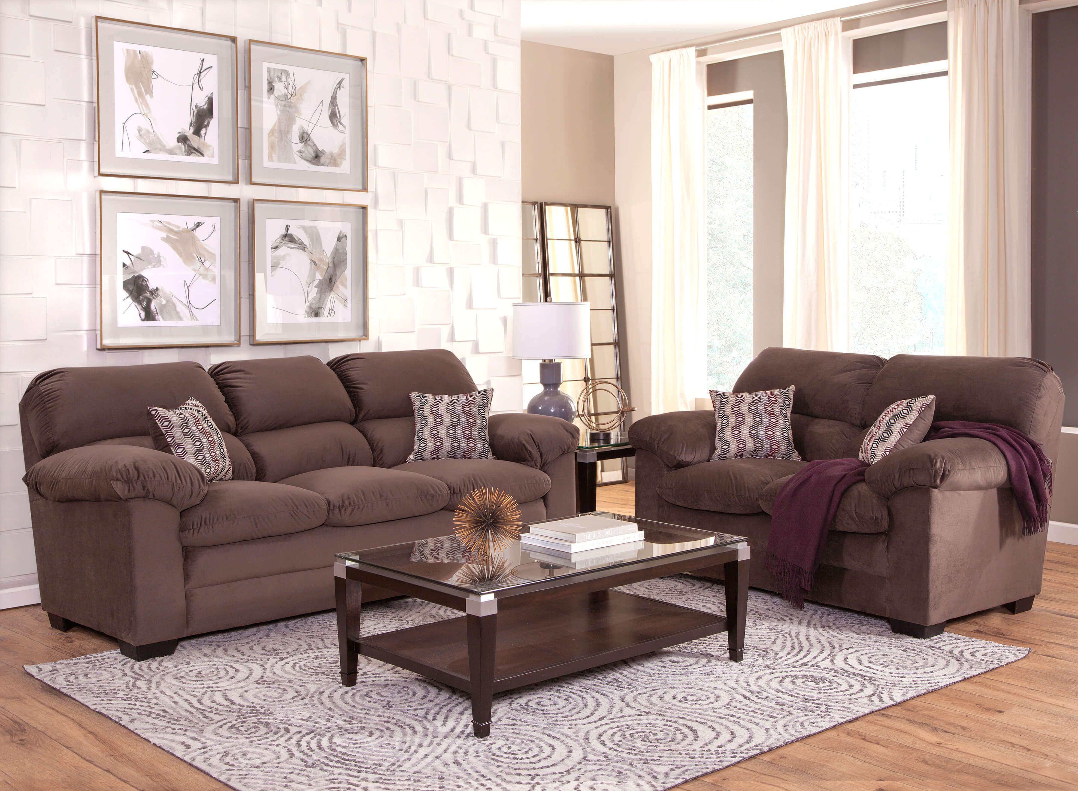 Alta Plush Toast Sofa And Loveseat Fabric Living Room Sets