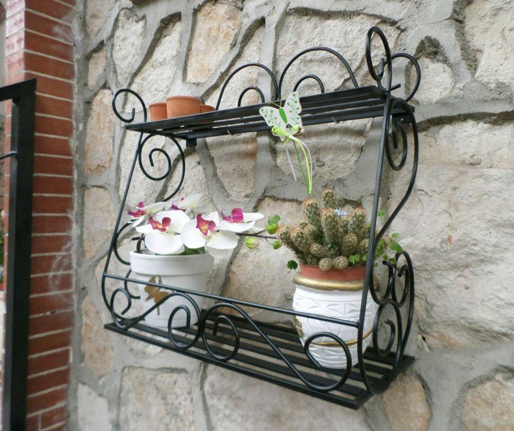 Porta piante vaso vasetti fioriera in ferro battuto parete - Porta piante da esterno ...