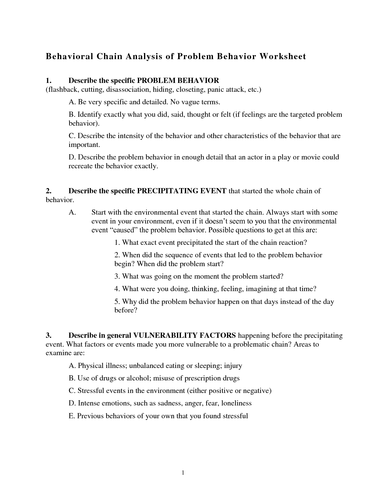 5 Awesome Behavioral Chainysis Worksheet Templates