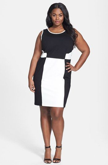 DKNYC Faux Leather Ponte Dress (Plus Size | Kleid plus ...