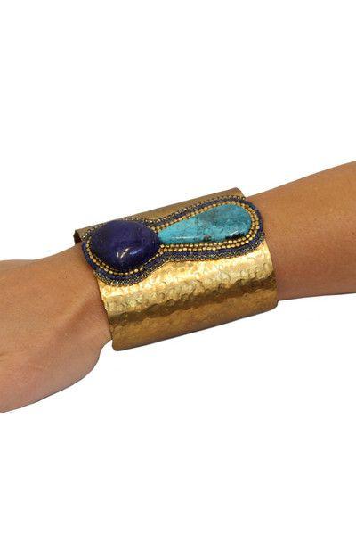 Bold gold and blue cuff - www.wearelse.com
