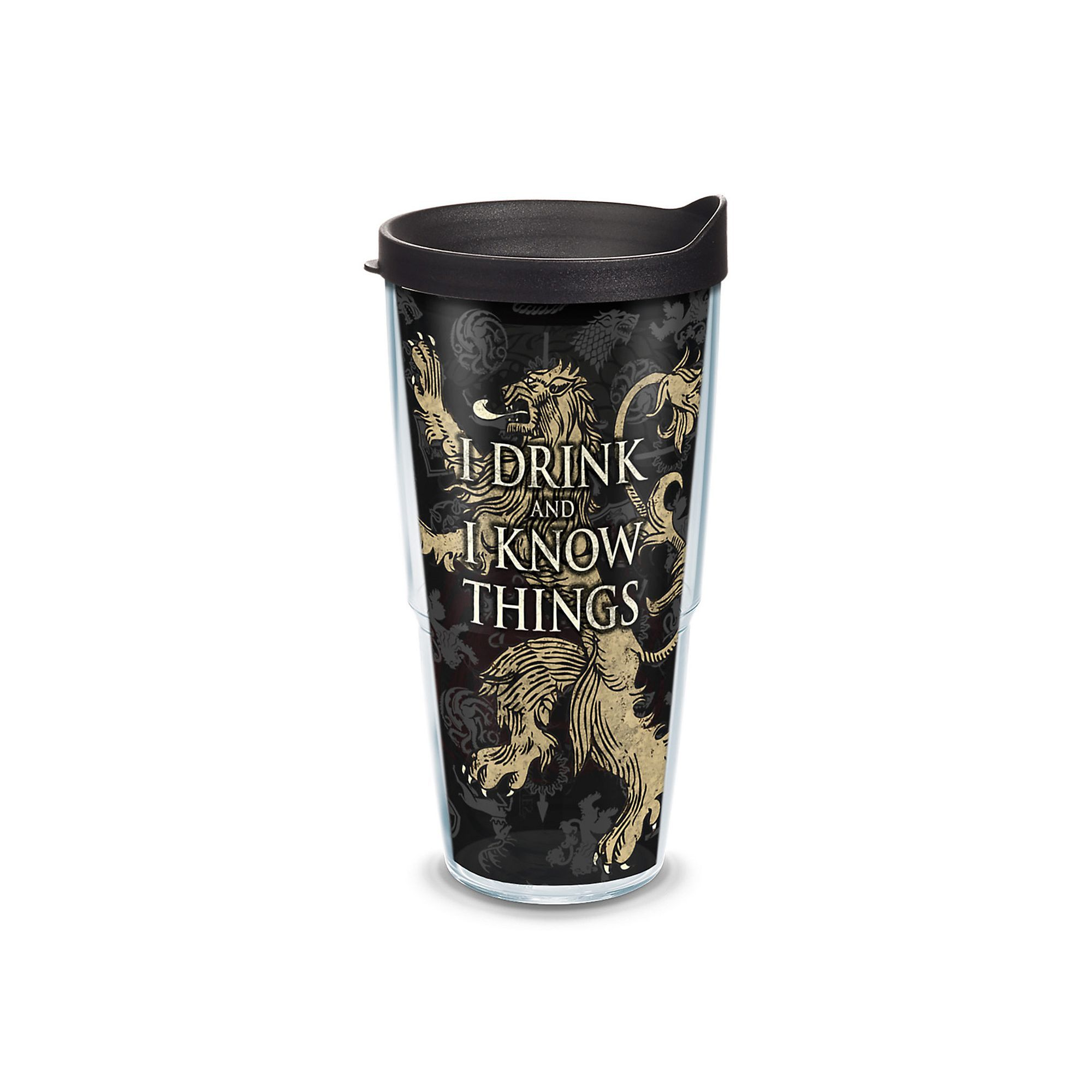 I Drink and I Know Things Game of Thrones Tervis 16 oz Tumbler with Black Lid