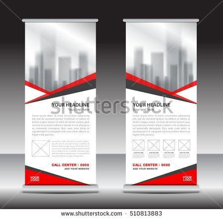 Red roll up business brochure flyer banner design vertical template