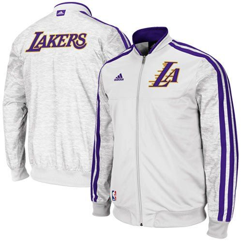Los Angeles Lakers adidas Home Weekday 2012-2013 Authentic On-Court Jacket  – White 6e6c1ef7e