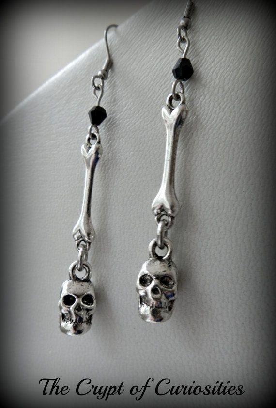 Gothic human bone and skull dangle by TheCryptOfCuriositie on Etsy