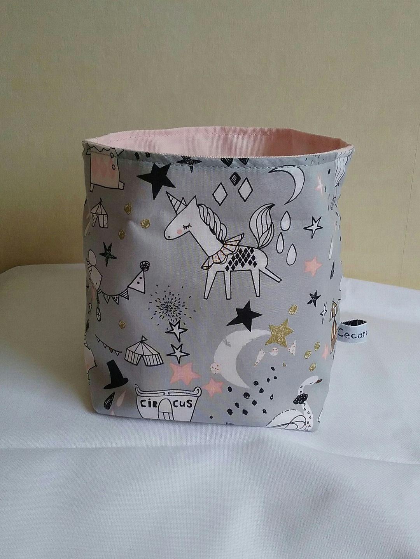 Panier tissu vide poche cirque lune etoiles licorne tons gris et rose pale chambre d 39 enfant - Chambre bebe gris et rose pale ...