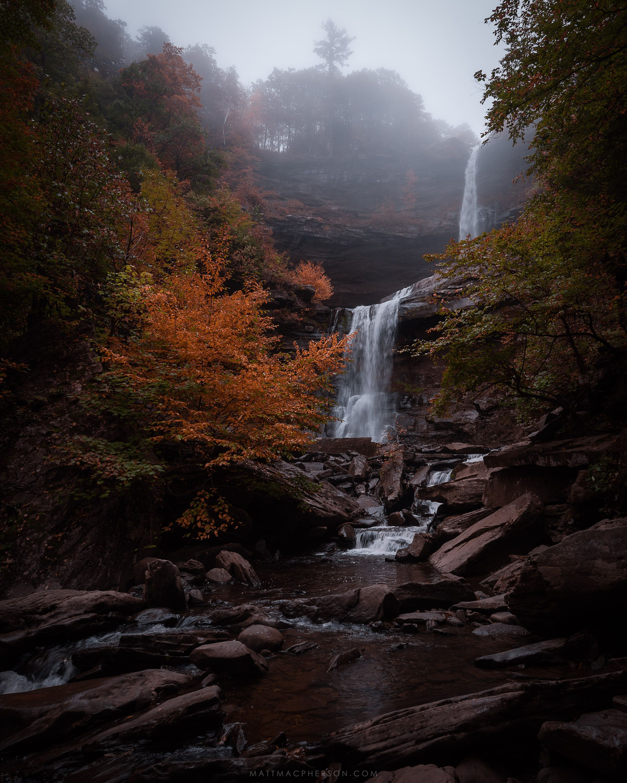 Autumn fog at kaaterskill falls new york oc3000x2400