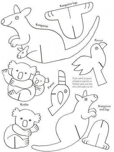 Kangoeroe en koala | cool ideas | Pinterest | Animales de cartulina ...