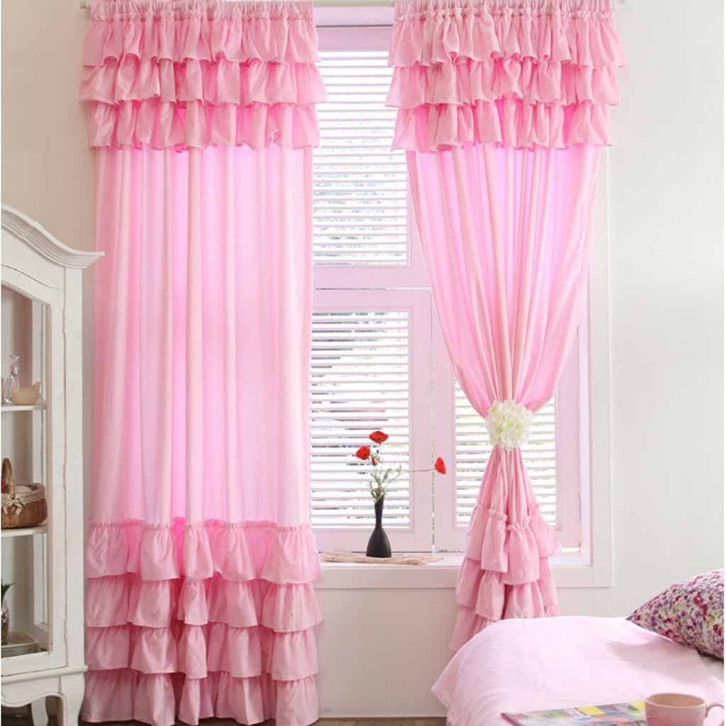 7 Tiered Ruffle Curtain Panel Ruffle Curtains Pink Ruffle
