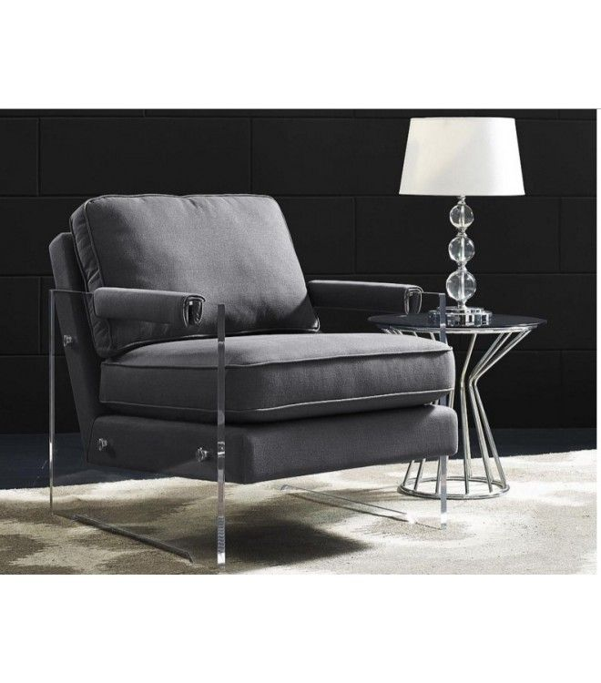 floating grey linen acrylic arm accent chair