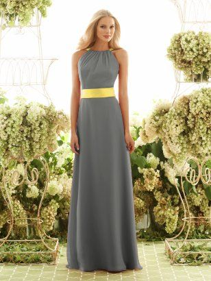 Gray and Yellow Sashes for Bridesmaid Dresses