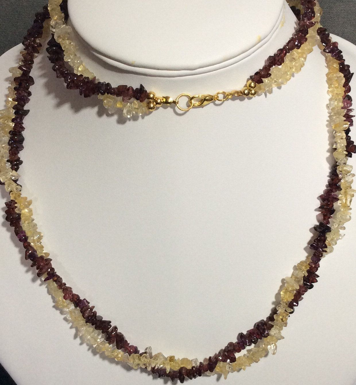and Citrine nugget necklace January birthstone 2nd