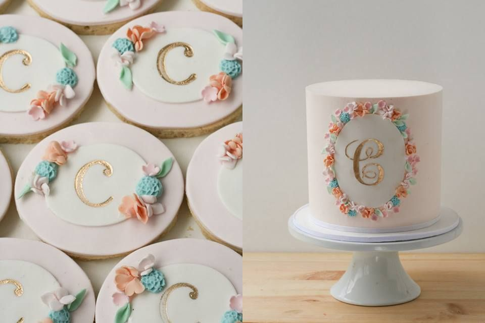 Sweet buttercream cake with cookies to match.