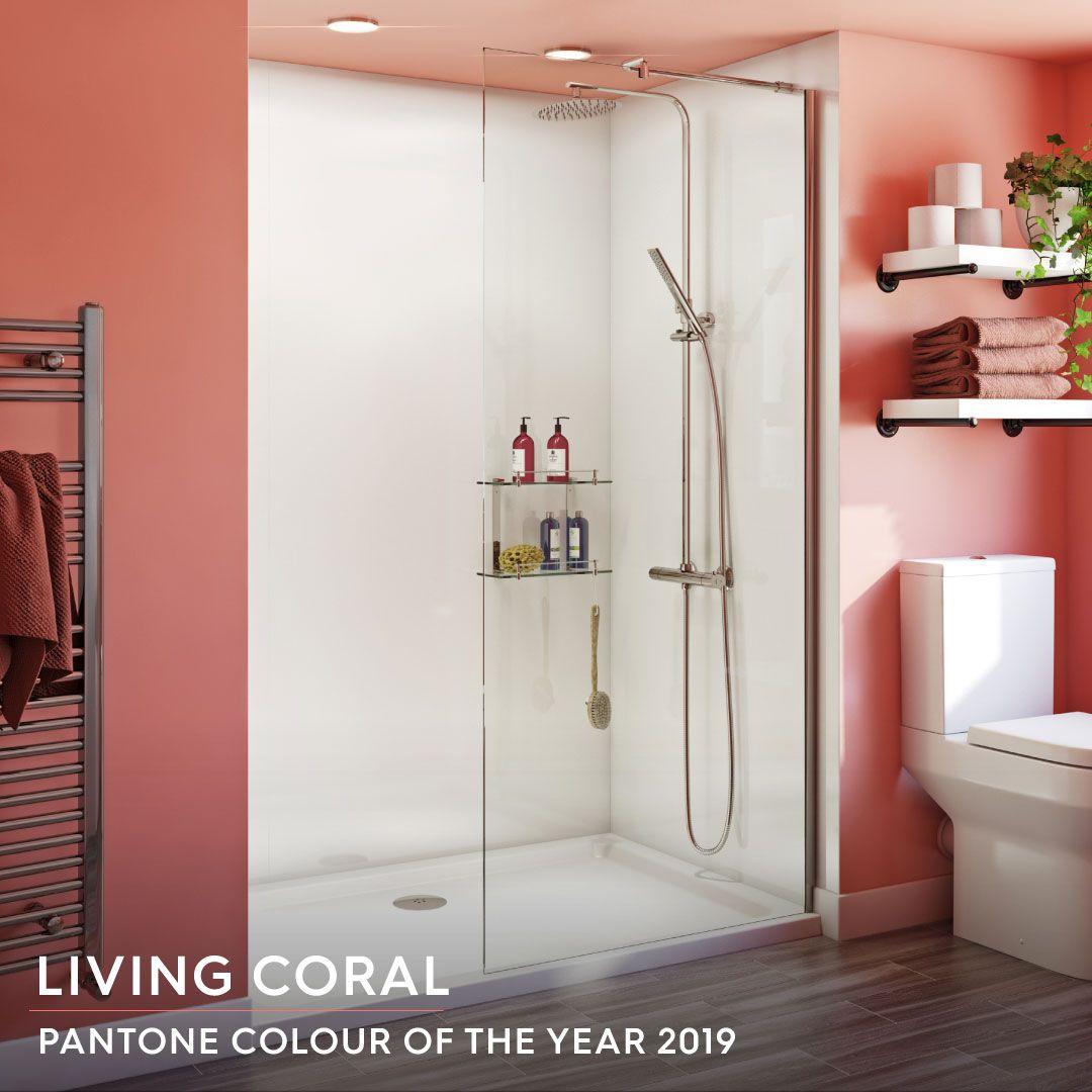 Livingcoral Coral Pantone Pantone2019 Pantonelivingcoral Coralbathroom Coralcolour Pinkbathroom Ora Stone Shower Walk In Shower Enclosures Shower Tray