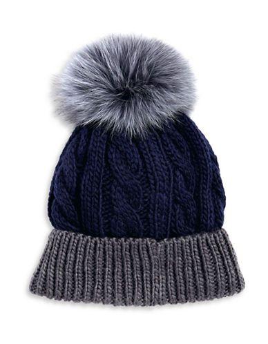 5af095c17 Kyi Kyi Fox Fur Pom Pom Knit Hat Women's Blue | Products | Hats ...
