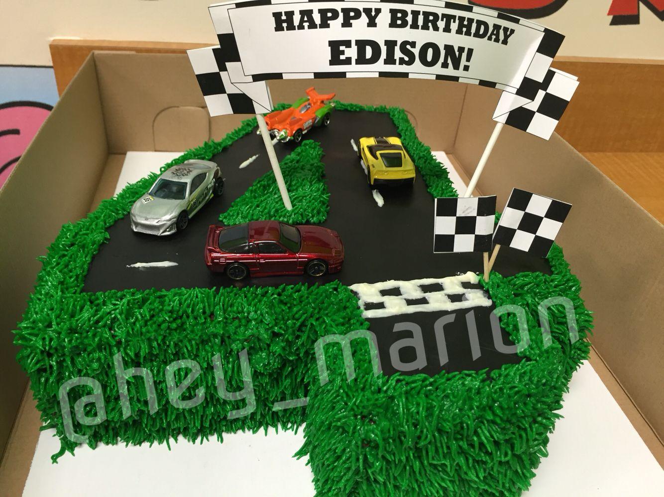 4 car cake fondant road American buttercream grass and white