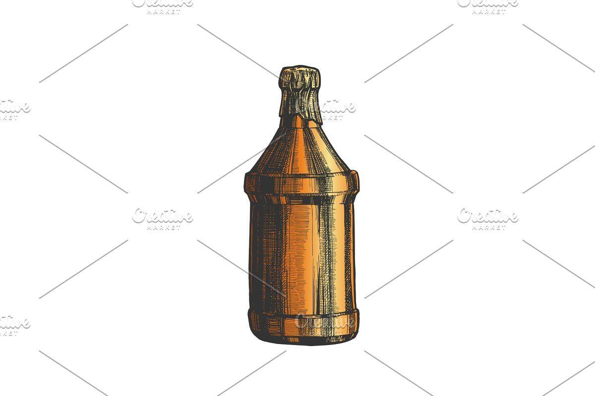 Hand drawn blank beer bottle color blank beer bottle