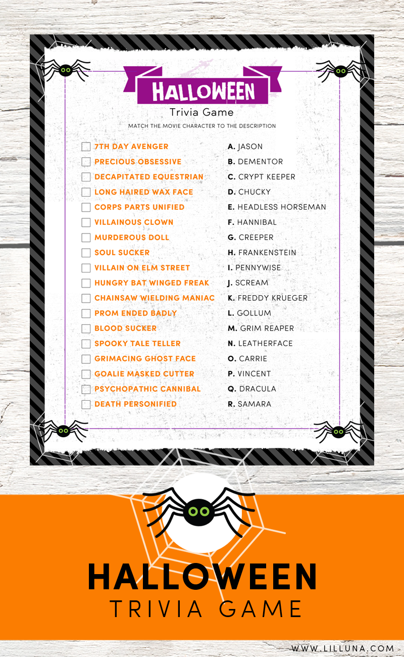 FREE Halloween Trivia Print - just match the movie character to ...