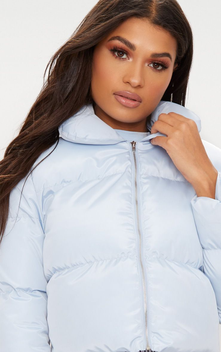 bcd60518ea Baby Blue Cropped Puffer Jacket in 2019 | Clothes | Puffer jackets ...
