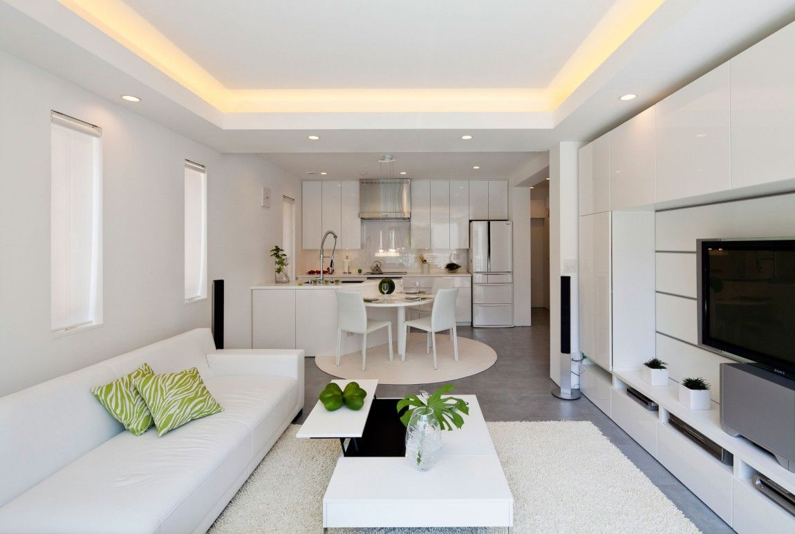 Living Room And Kitchen Seeking Balance Tranquility Modern Zen Design House In Tokyo Small Apartment