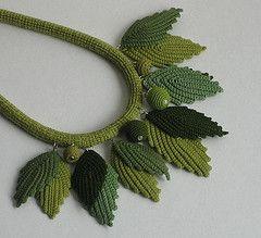 Irish lace necklace (Hedda Vatter) Tags: necklace leaf estonia jewelry cotton textileart irishcrochet crochetart textilejewelry fiberjewelry irishlace heddavatter