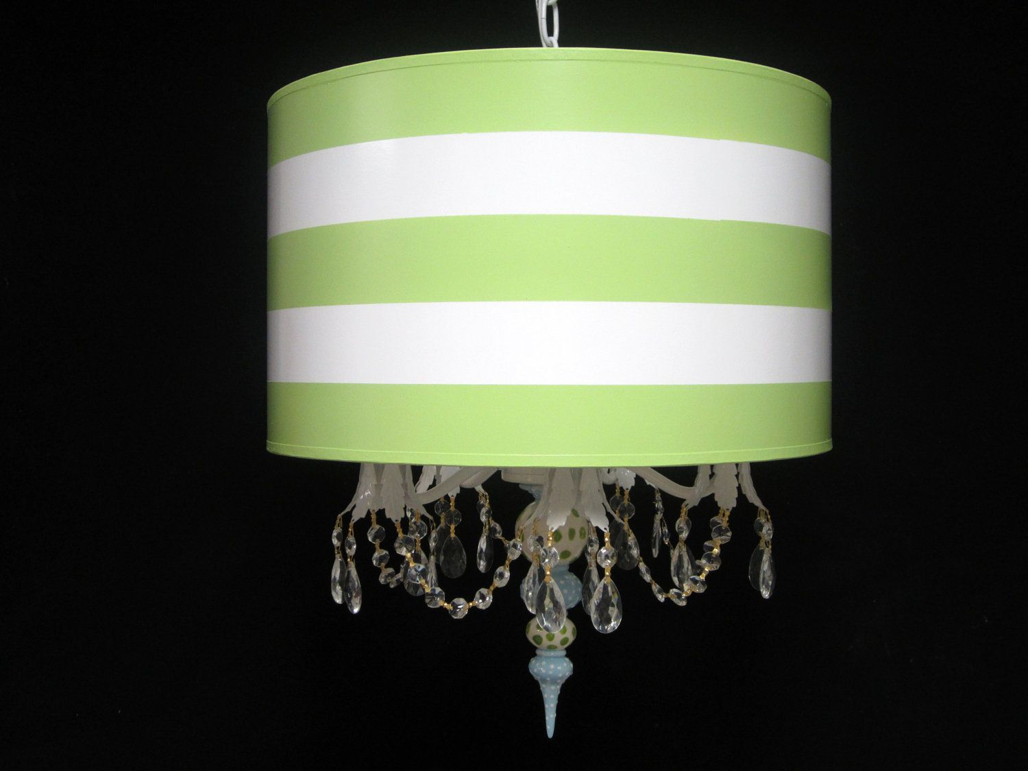 Drum pendant chandelier green stripes by whimsicalcollections drum pendant chandelier green stripes by whimsicalcollections arubaitofo Images