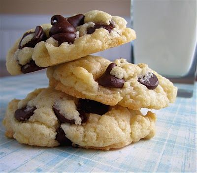 Cake Batter Cookies -   1 (18.25 oz.) box cake mix, 1 tsp. baking powder, 2 eggs, 1/2 cup vegetable oil, 1 cup semisweet chocolate chips