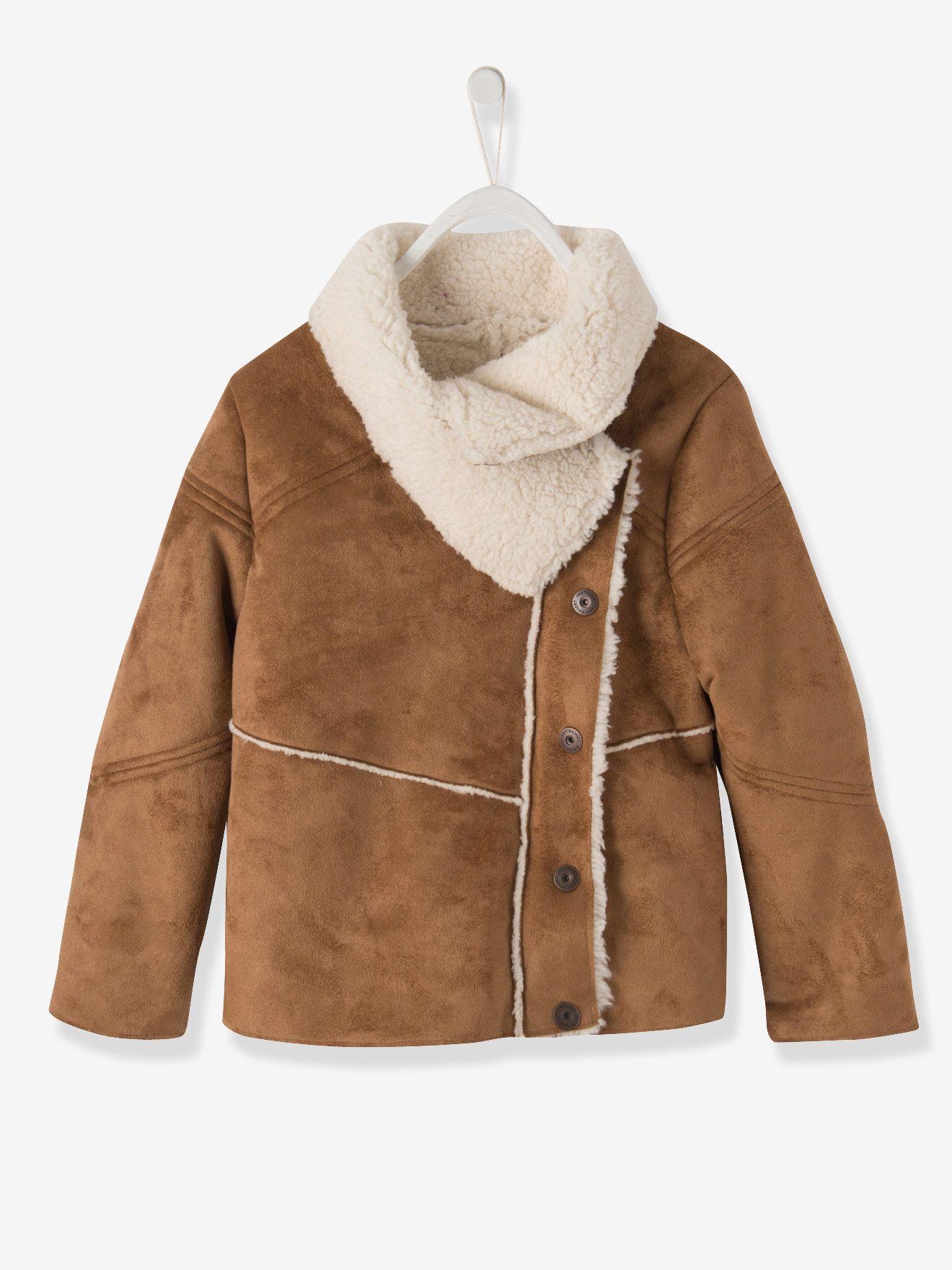 Manteau fille imitation peau lainée caramel - Vertbaudet   vêtements ... ac102f71f6d