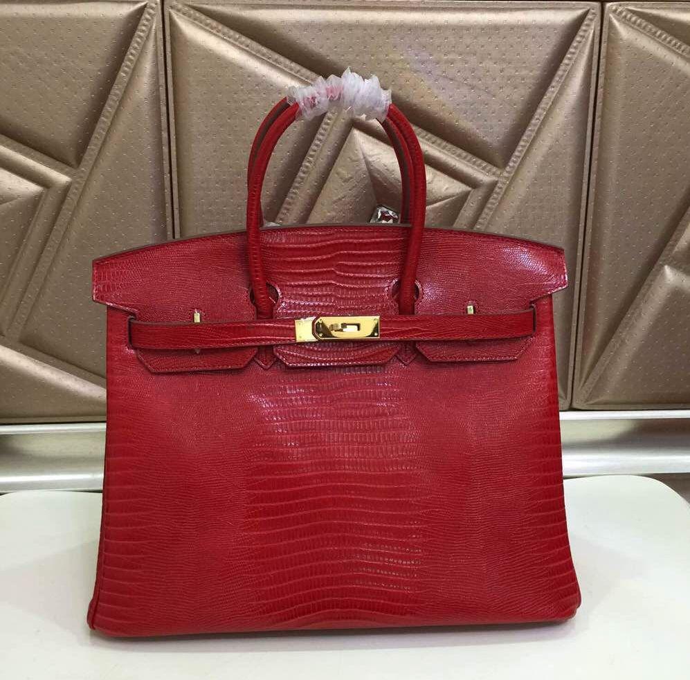 Hermes Birkin 25 30 35 lizard pattern Bag Red   Hermes Birkin 35 ... 1a7211c1b4
