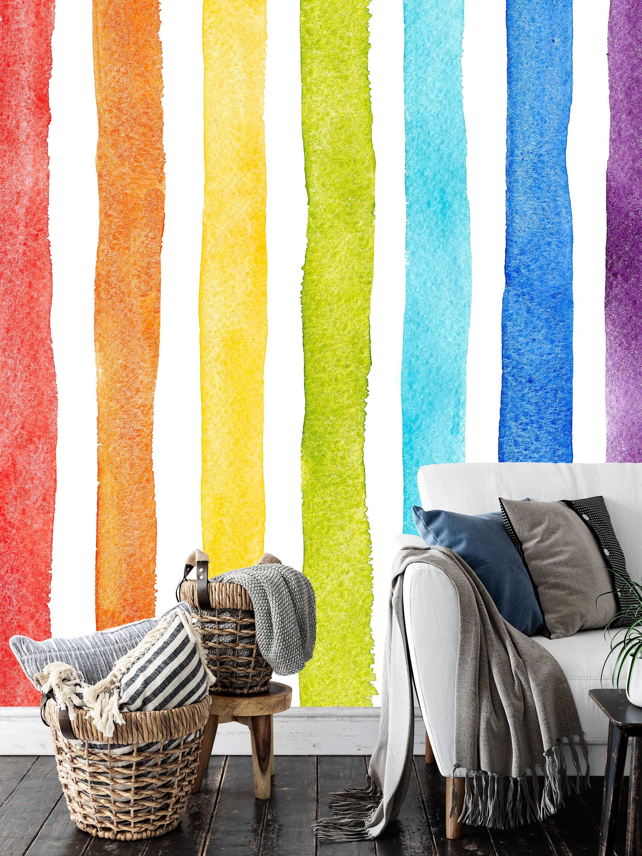 Watercolor Multicolor Bright Rainbow Colors Vertical Stripes Etsy Striped Wallpaper Stripe Wallpaper Bedroom Wallpaper