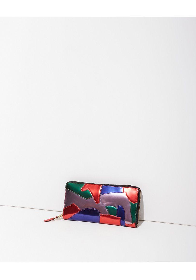 Comme des Garçons / Metallic Patchwork Long Zip Wallet