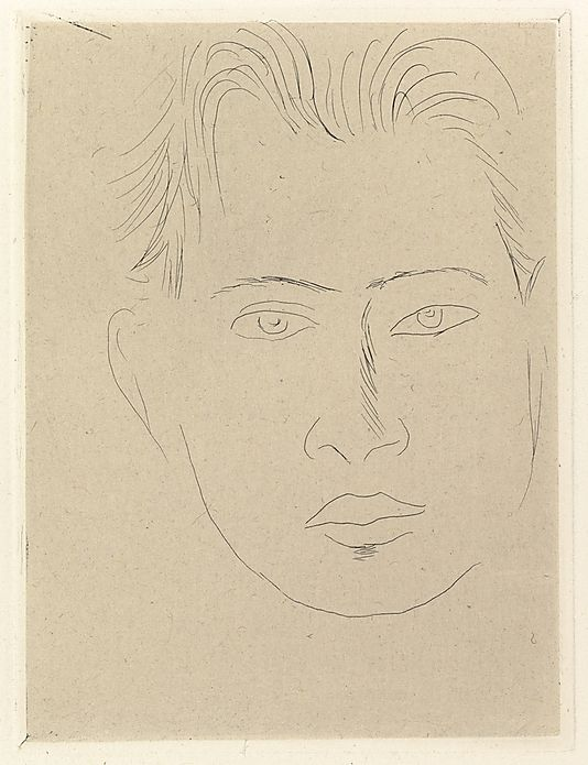 """Henri Matisse """"Large Face Massia"""" 1914 Etching on chine colle"""