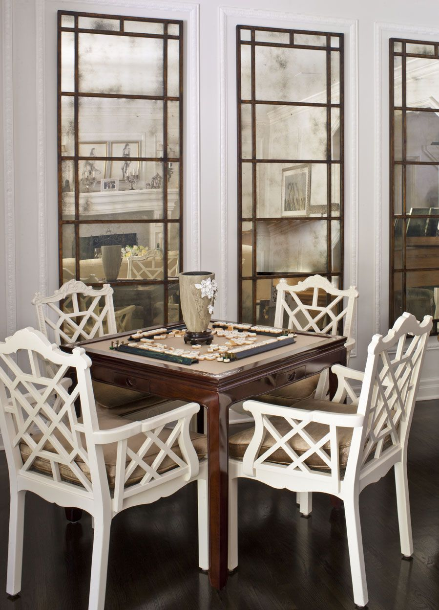 White fretwork chairs, and antique mirrored panels | Dayna ...