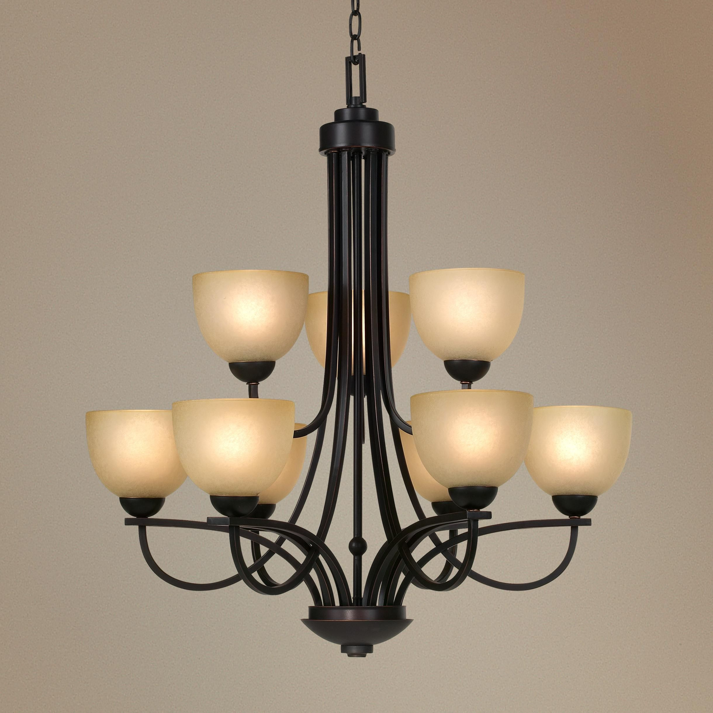 Franklin Iron Works Bennington Collection 9 Light Chandelier Style