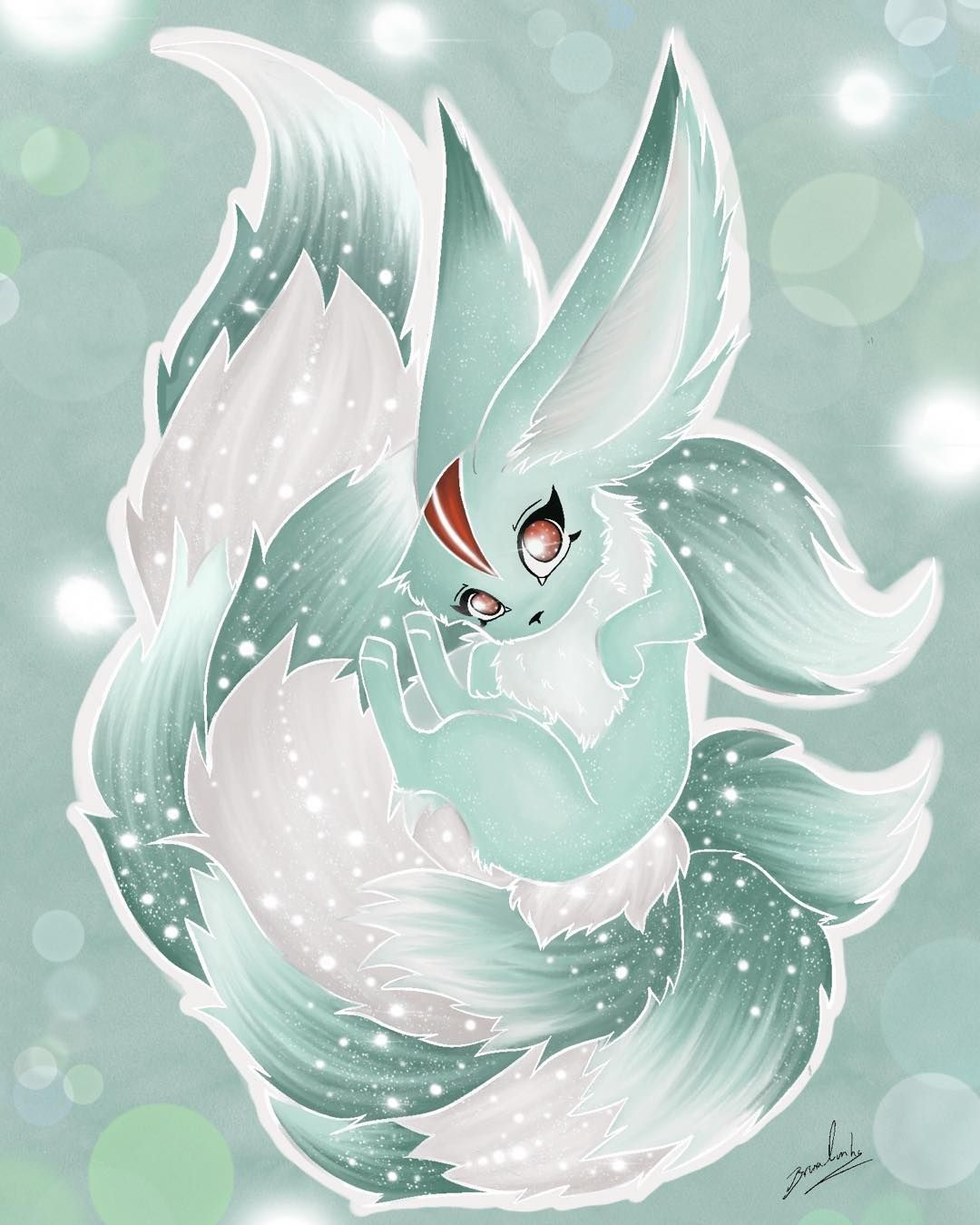 I was so creeped out with FF7 remake carbuncle design, I had to do my own <3 #carbuncle #finalfantasy #summon #cute