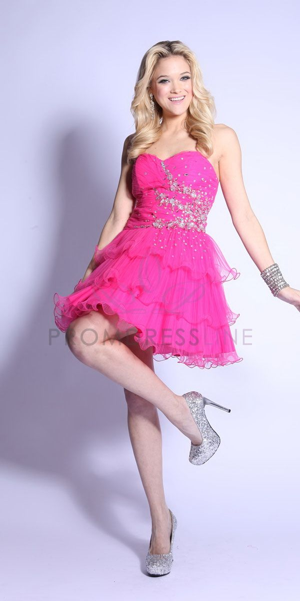 Beaded Tulle Homecoming Dress with Strapless, Sweetheart