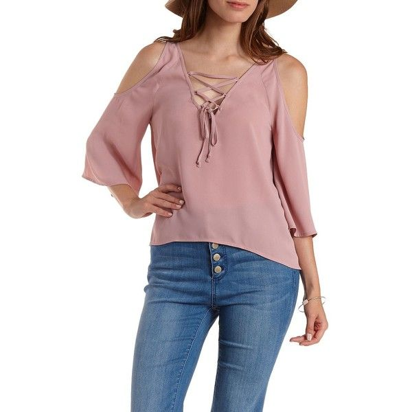 09047fbee65020 Charlotte Russe Pale Mauve Lace-Up Cold Shoulder Top by Charlotte... ( 24)  ❤ liked on Polyvore featuring tops