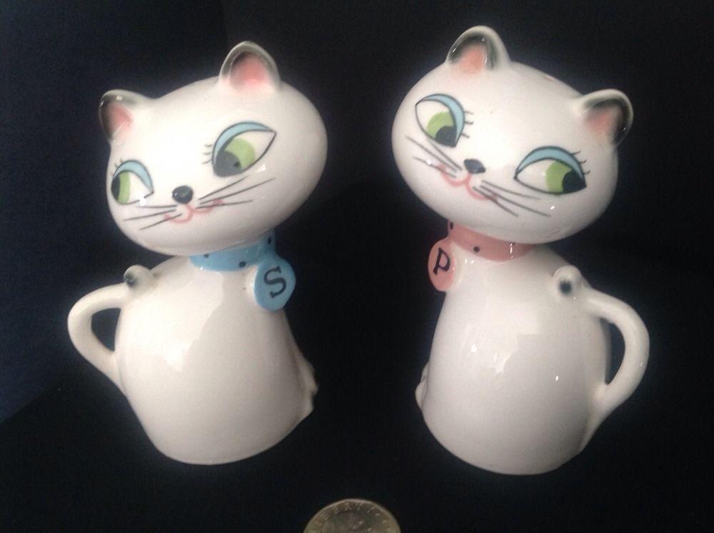 Vtg Growler Squeaker Salt Pepper Shaker Siamese Cat Kitten Japan