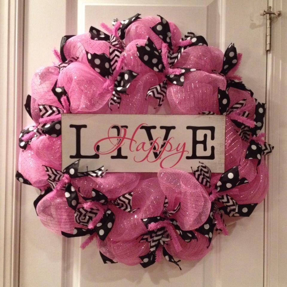 "Pink and Black Deco Mesh Wreath ""Live Happy"""