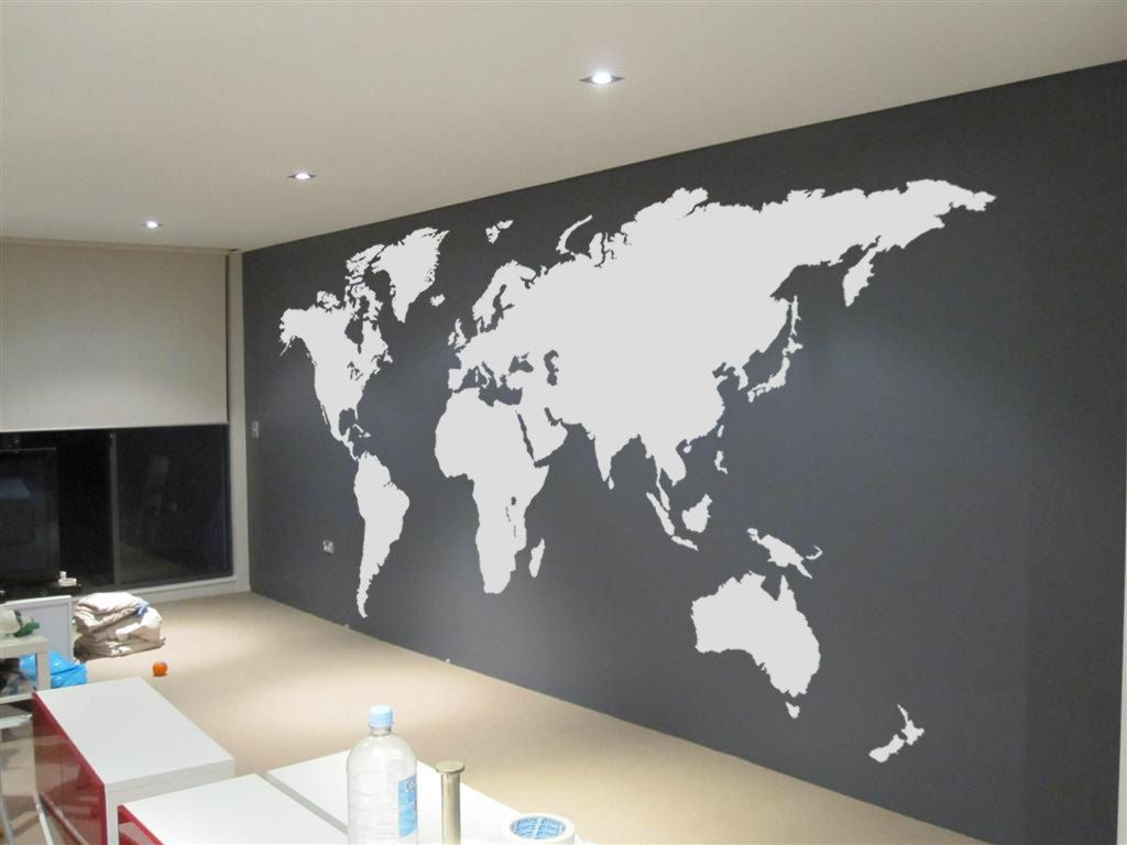 Extra large world map 42 x 24m 14 x 8ft vinyl by vinylimpression extra large world map vinyl wall sticker i need a travel wall and this is perfect for our very large rec room gumiabroncs Gallery