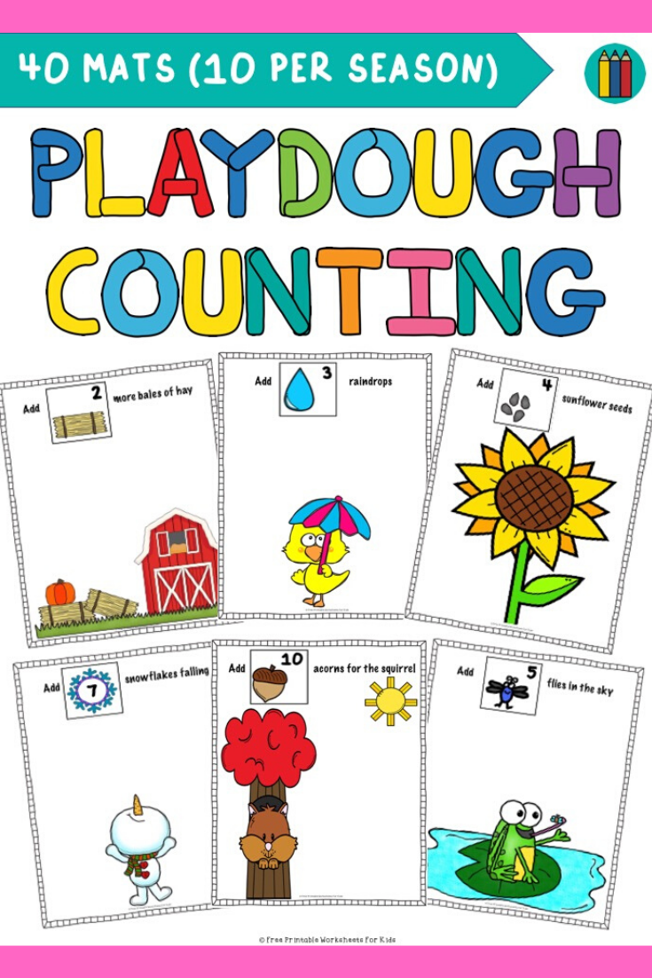Seasonal Playdough Counting Mats Kids Worksheets Printables Math Centers Kindergarten Worksheets For Kids [ 1102 x 735 Pixel ]
