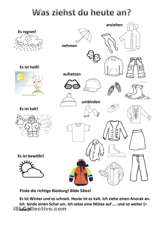 Wetter und Kleidung | DaF | Pinterest | Wetter, Kleidung und ...