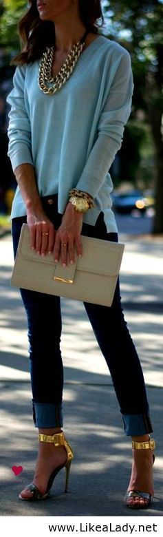 Love the blue, accessories, straight jeans and shoes!