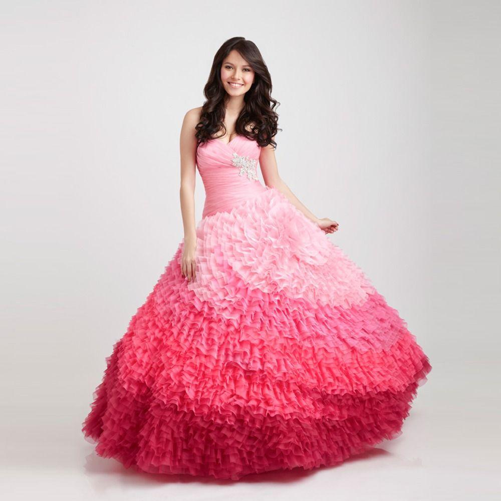 Strapless Ruffle Organza vestido de baile arco-íris vestidos ...